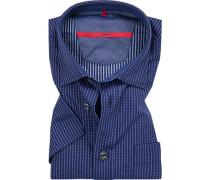 Herren Hemd, Classic Fit, Baumwolle, blau gemustert