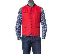 Herren Jacke Trachtenweste Baumwoll-Leinen rot rot,rot