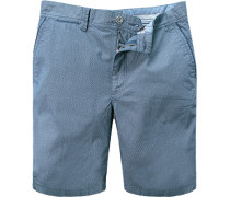 Herren Hose Bermudashorts, Baumwolle, blau gemustert