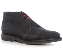Herren Schuhe Desert Boots Veloursleder dunkelblau blau,beige