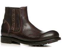 Herren Schuhe Chelsea Boots, Leder gebrusht, testa di moro braun
