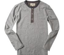 Herren T-Shirt Longsleeve Baumwolle hellgrau meliert
