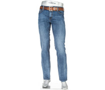 Herren Jeans Pipe Regular Slim Fit Baumwoll-Stretch blau