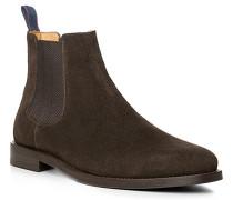 Herren Schuhe Chelsea Boots Veloursleder dunkelbraun beige