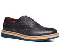 Herren Schuhe Brogue, Leder, azzurro-grigio blau