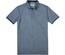 Herren Polo-Shirt, Baumwoll-Jersey, navy-weiß gemustert blau