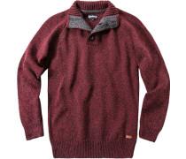 Herren Pullover Troyer, Wolle, grau-rot meliert