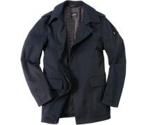 Herren Jacke, Microfaser-Baumwolle wasserabweisend wattiert, nachtblau