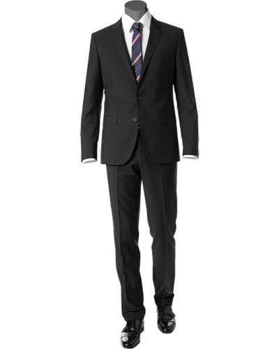 Anzug, Fitted, Schurwolle, schwarz