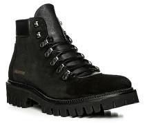 Herren Schuhe Stiefeletten, Veloursleder, schwarz
