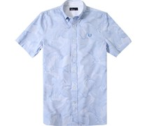 Herren Hemd Strukturgewebe camouflage blau