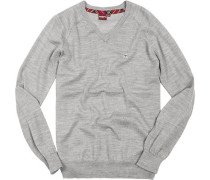 Herren V-Pullover Wolle mineral marl grau