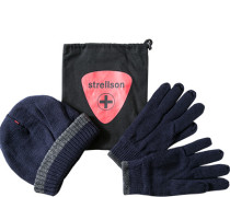 Herren strellson Set Mütze+Handschuhe Woll-Mix marine blau