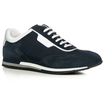 Herren Schuhe Sneaker Textil-Veloursleder navy blau,weiß