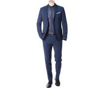 Herren Anzug Fitted Wolle blau meliert
