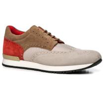 Herren Schuhe Sneaker, Textil-Leder, beige-creme-rot