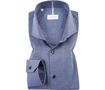 Herren Hemd, Shaped Fit, Popeline, navy blau