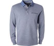 Herren Polo-Shirt, Baumwolle, blau meliert