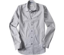 Herren Hemd, Regular Fit, Baumwolle, anthrazit-weiß gestreift grau