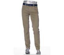 Herren Hose Chino Regular Slim Fit Baumwoll-Stretch gepunktet
