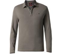 Herren Zip-Polo-Shirt Baumwoll-Piqué grau
