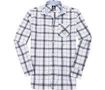Herren Hemd, Baumwolle, weiß-blau kariert