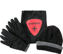 Herren strellson Set Mütze+Handschuhe Woll-Mix schwarz
