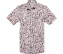 Herren Hemd Modern Fit Leinen-Baumwolle multicolor floral