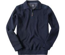 Herren Pullover Troyer Baumwolle dunkelblau meliert