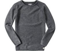 Herren Pullover Baumwolle graublau meliert
