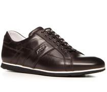 Herren Schuhe Sneaker Leder dunkelbraun braun,weiß
