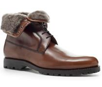 Herren Schuhe  Stiefelette Kalbleder glatt cuoio braun