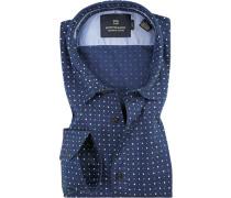 Herren Hemd, Popeline, blau gemustert