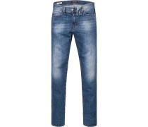 Herren Jeans, Straight Fit, Baumwoll-Stretch, blau