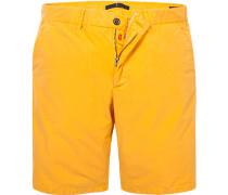 Herren Hose Bermudashorts Modern Fit Baumwolle gelb