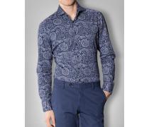 Herren Hemd Shaped Fit Baumwolle Marine gemustert blau