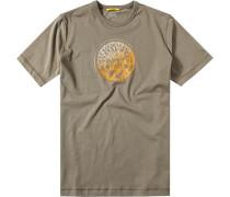 Herren T-Shirt Baumwolle khaki gemustert grün