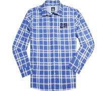 Herren Hemd, Twill, blau kariert