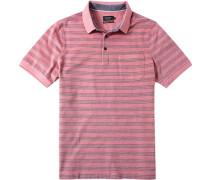 Herren Polo-Shirt Baumwoll-Piqué koralle gestreift rot