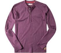Herren T-Shirt Longsleeve Baumwolle aubergine