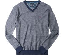 Herren Pullover Baumwoll-Schurwolle marineblau-weiß gestreift