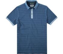 Herren Polo-Shirt, Baumwoll-Piqué, blau gestreift