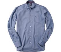 Herren Hemd Regular Fit Strukturgewebe hellblau meliert