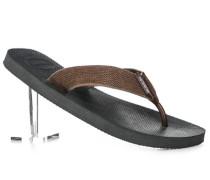 Herren Schuhe Zehensandalen, Textil-Gummi, braun-grau