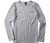 Herren T-Shirt Modern Fit Baumwolle hellgrau meliert weiß