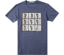 Herren T-Shirt Baumwolle jeans meliert