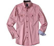 Herren Hemd Button-Under-Kragen Baumwolle rot