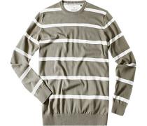 Herren Pullover Pima Baumwolle khaki-beige gestreift grau