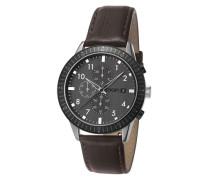 Herren Uhren Chronograph Edelstahl-Lederband dunkel