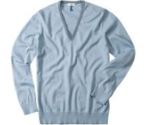 Herren V-Pullover Baumwolle Hellblau